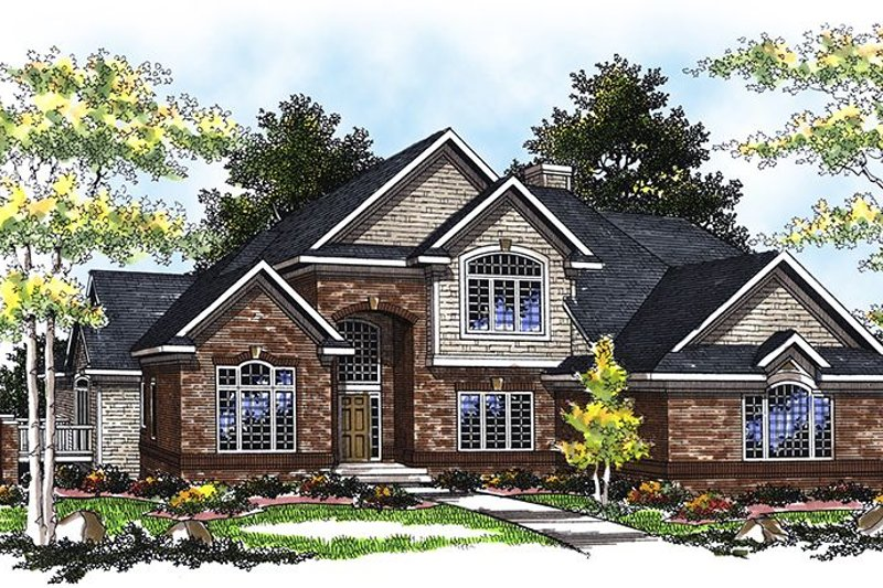 Dream House Plan - Mediterranean Exterior - Front Elevation Plan #70-1355