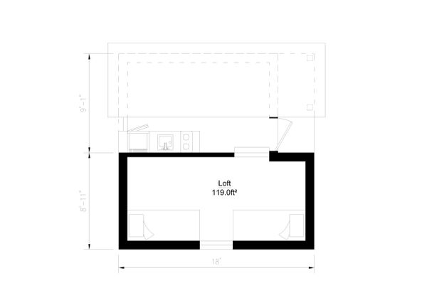 Modern Style House Plan - 1 Beds 1 Baths 264 Sq/Ft Plan #549-11 Floor Plan - Upper Floor Plan