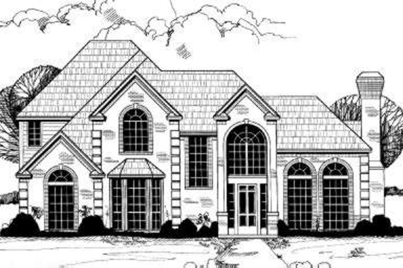 European Style House Plan - 5 Beds 4.5 Baths 3638 Sq/Ft Plan #317-123 Exterior - Front Elevation
