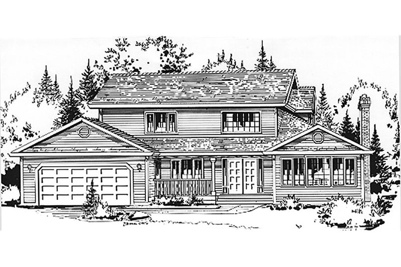 House Blueprint - Country Exterior - Front Elevation Plan #18-201