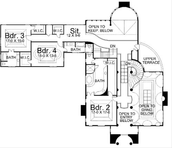 European Floor Plan - Upper Floor Plan Plan #119-174
