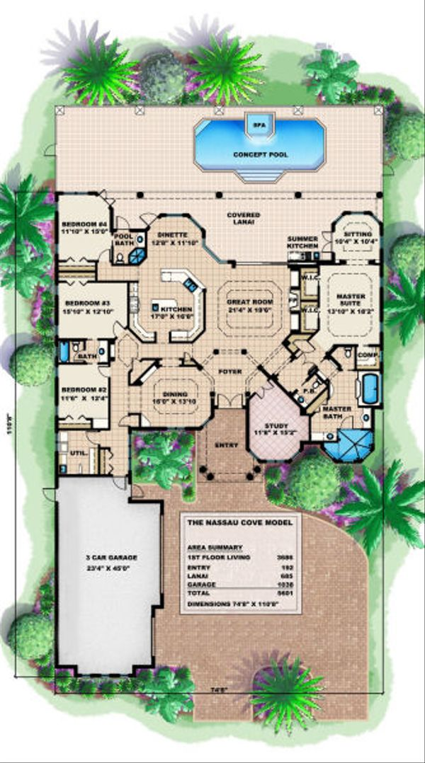 Mediterranean Floor Plan - Main Floor Plan Plan #27-406