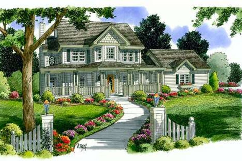 Victorian Style House Plan - 4 Beds 2.5 Baths 2426 Sq/Ft Plan #312-616 Exterior - Front Elevation
