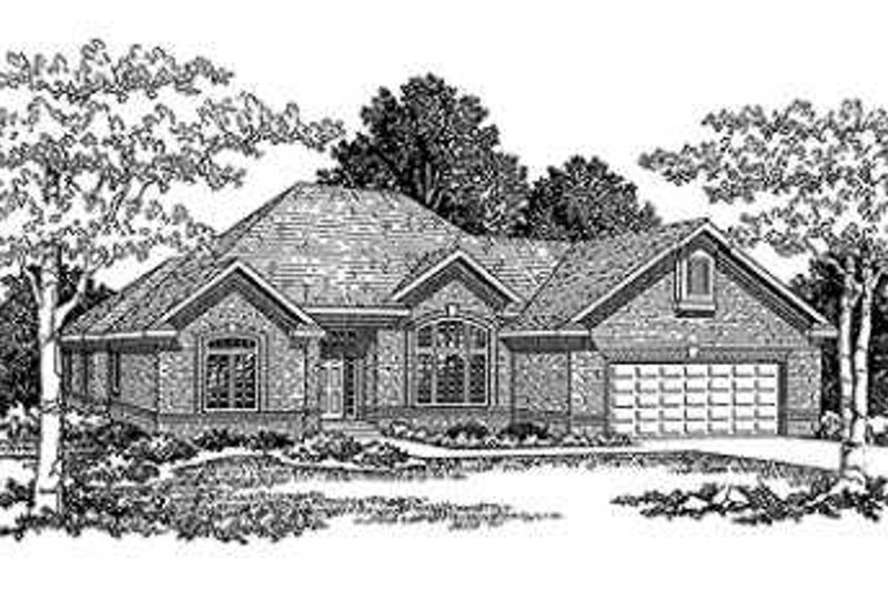 European Style House Plan - 2 Beds 2 Baths 1916 Sq/Ft Plan #70-492 Exterior - Front Elevation