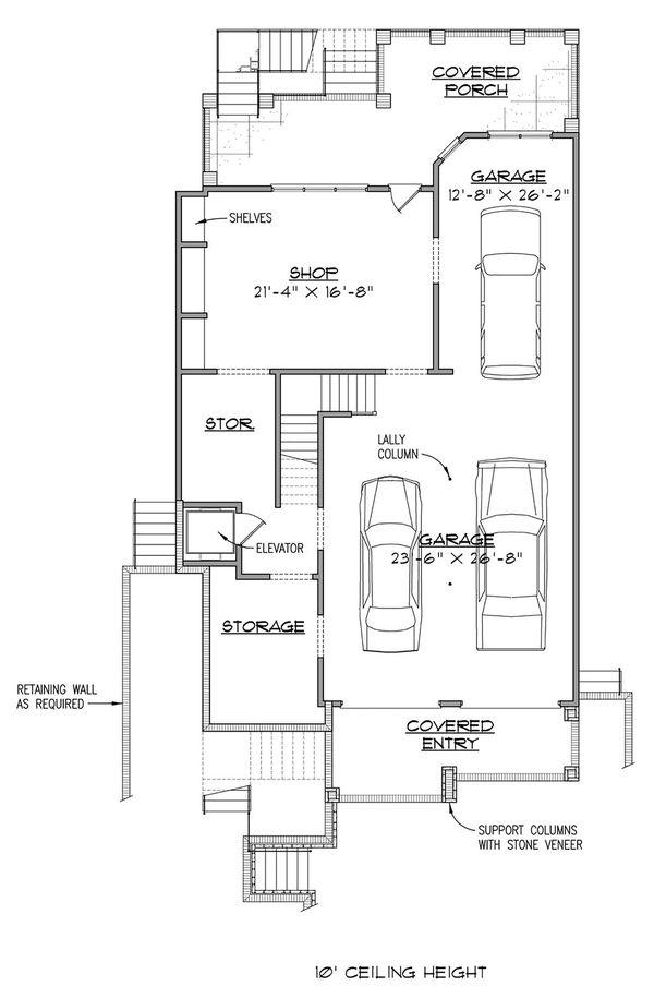 Architectural House Design - European Floor Plan - Lower Floor Plan #1054-42