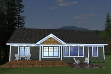 Dream House Plan - Craftsman style, Bungalow design, rear elevation