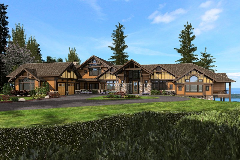 Craftsman Style House Plan - 4 Beds 6.5 Baths 9870 Sq/Ft Plan #132-215 Exterior - Front Elevation