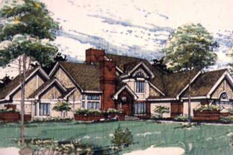 Modern Style House Plan - 4 Beds 4.5 Baths 5042 Sq/Ft Plan #320-135 Exterior - Front Elevation
