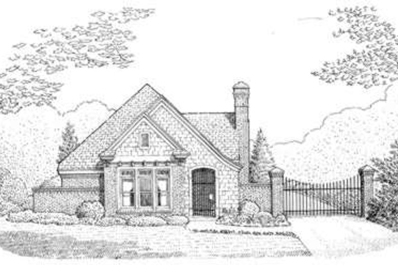 European Style House Plan - 2 Beds 2 Baths 1530 Sq/Ft Plan #410-152 Exterior - Front Elevation