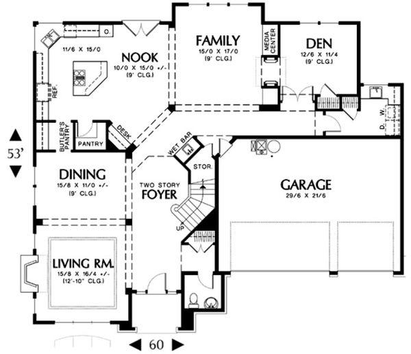 European Floor Plan - Main Floor Plan Plan #48-456