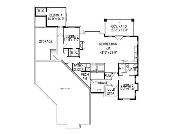 Craftsman Floor Plan - Lower Floor Plan Plan #920-48