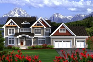 Craftsman Exterior - Front Elevation Plan #70-1185