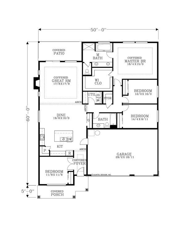 Craftsman Floor Plan - Main Floor Plan Plan #53-641