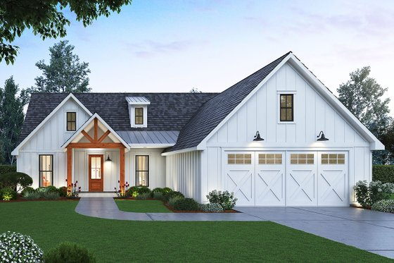 Farmhouse Exterior - Front Elevation Plan #1074-1