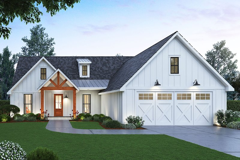 Farmhouse Style House Plan - 3 Beds 2.5 Baths 1814 Sq/Ft Plan #1074-1 Exterior - Front Elevation