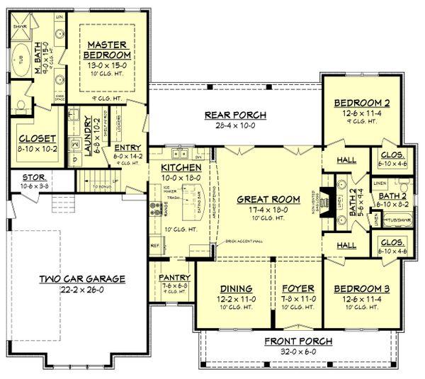 Dream House Plan - Farmhouse Floor Plan - Main Floor Plan #430-164