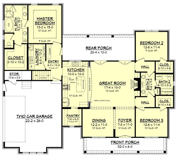 House Design - Farmhouse Floor Plan - Main Floor Plan #430-164