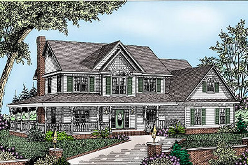 Home Plan - Country Exterior - Front Elevation Plan #11-219
