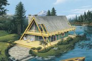 Cabin Style House Plan - 2 Beds 1 Baths 865 Sq/Ft Plan #57-502 Exterior - Front Elevation