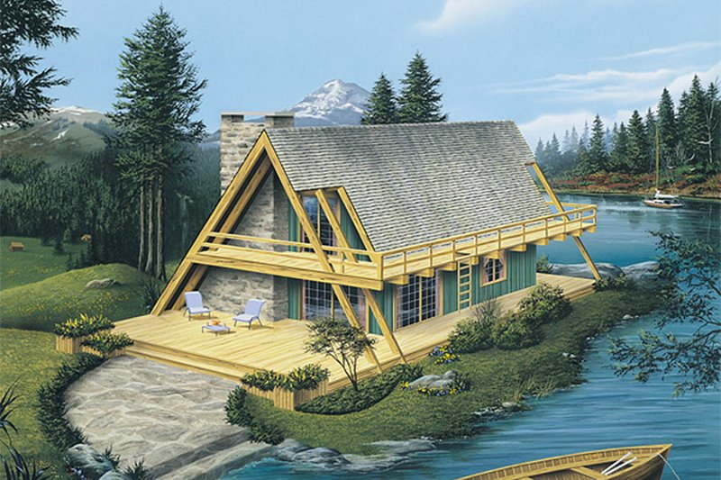Cabin Exterior - Front Elevation Plan #57-502