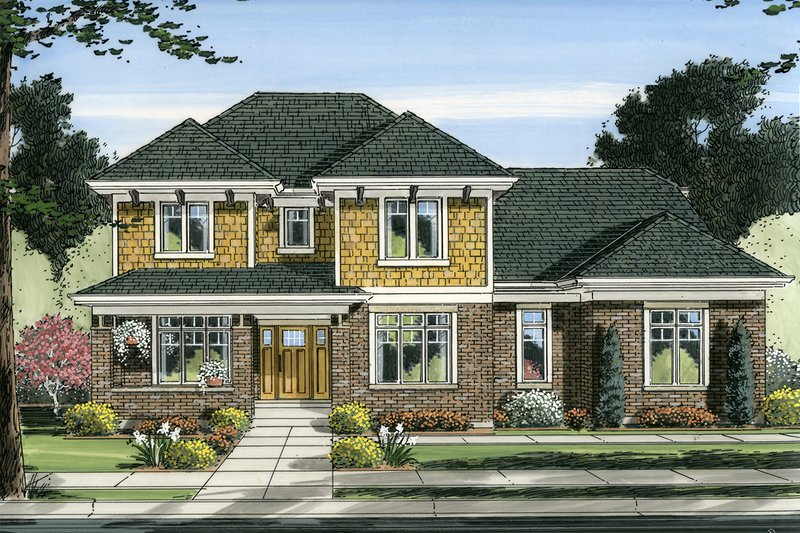 Architectural House Design - Craftsman Exterior - Front Elevation Plan #46-835