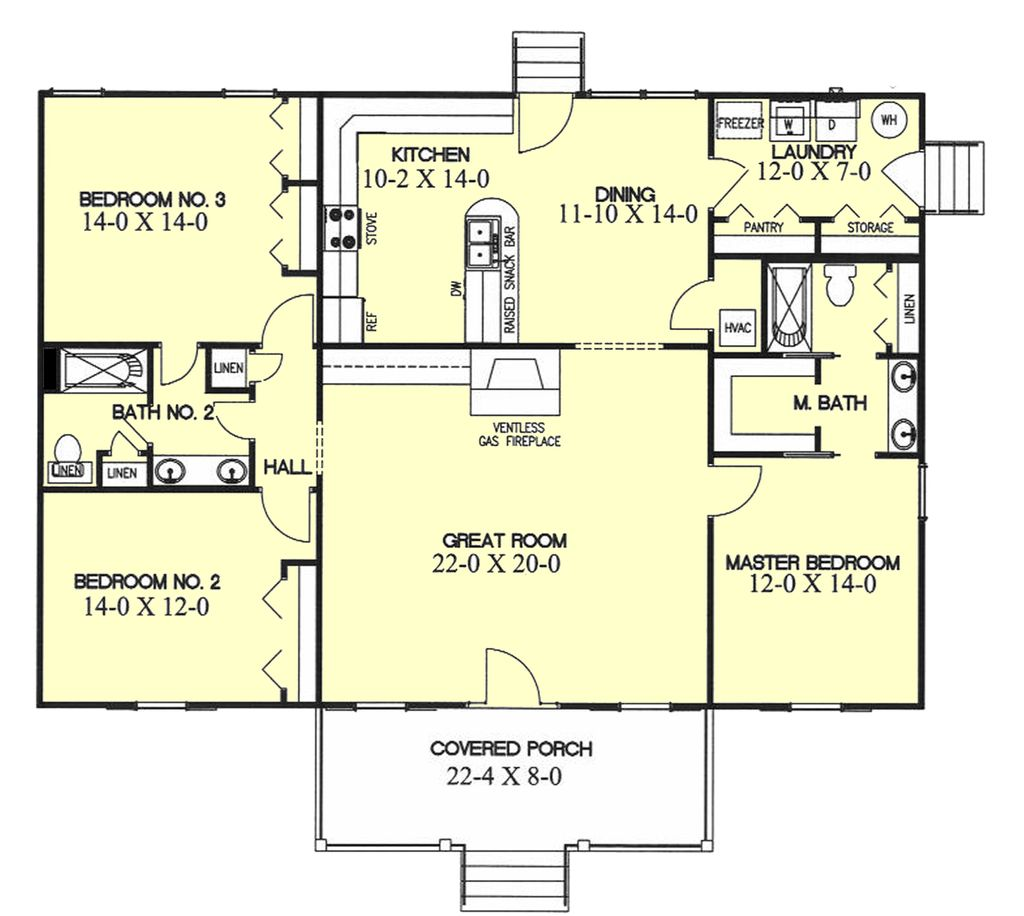 ranch style house plan 3 beds 2 baths 1700 sq ft plan