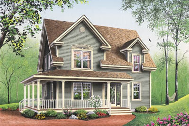 Home Plan - Country Exterior - Front Elevation Plan #23-227