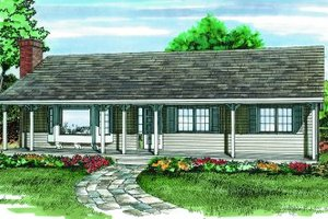 Ranch Exterior - Front Elevation Plan #47-201