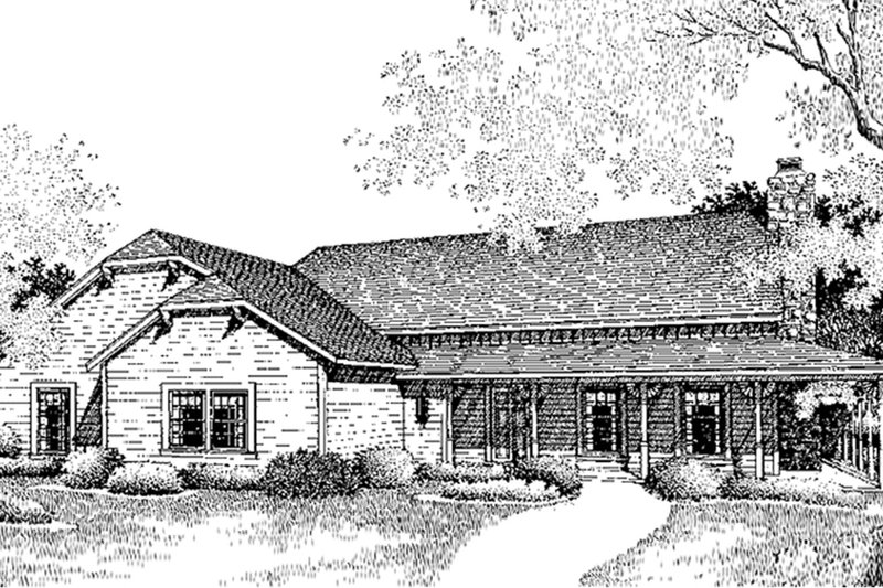 Country Exterior - Front Elevation Plan #45-432