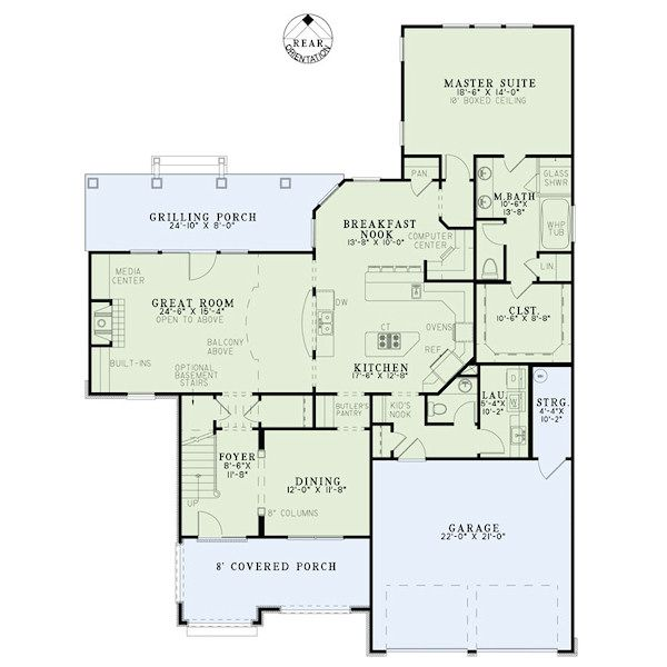 European Floor Plan - Main Floor Plan Plan #17-2415