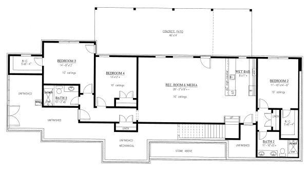 House Plan Design - Craftsman Floor Plan - Lower Floor Plan #437-115