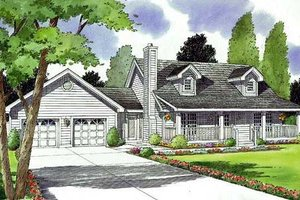 Country Exterior - Front Elevation Plan #312-516