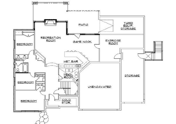 European Floor Plan - Lower Floor Plan Plan #5-369