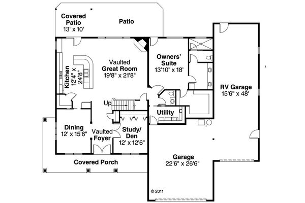Country Floor Plan - Main Floor Plan Plan #124-604