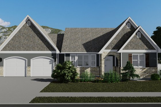 Cottage Exterior - Front Elevation Plan #1060-64