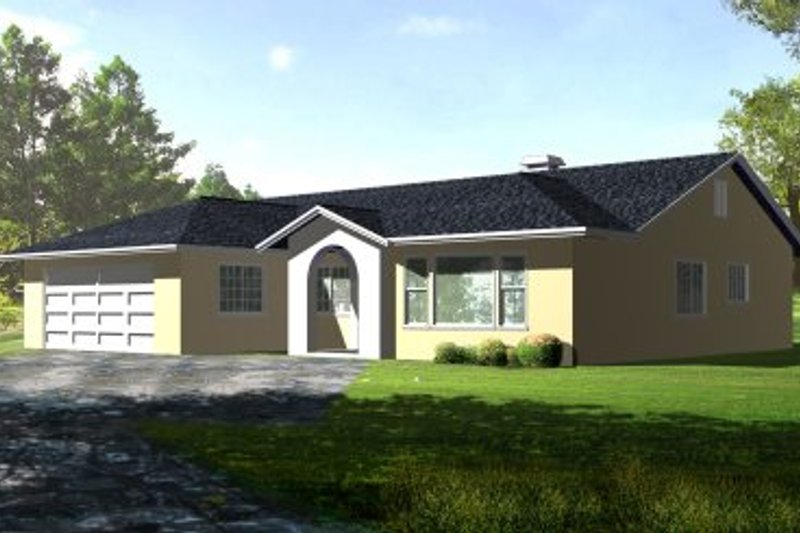 Adobe / Southwestern Style House Plan - 3 Beds 2 Baths 1654 Sq/Ft Plan #1-329 Exterior - Front Elevation