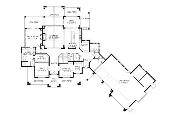 Craftsman Floor Plan - Main Floor Plan Plan #920-98