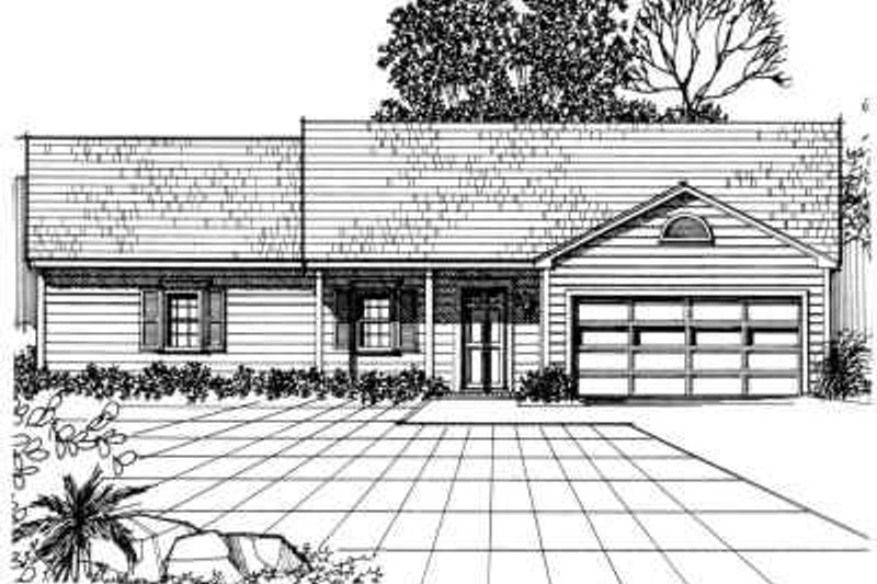 Traditional Style House Plan - 3 Beds 2 Baths 1504 Sq/Ft Plan #30-141 Exterior - Front Elevation