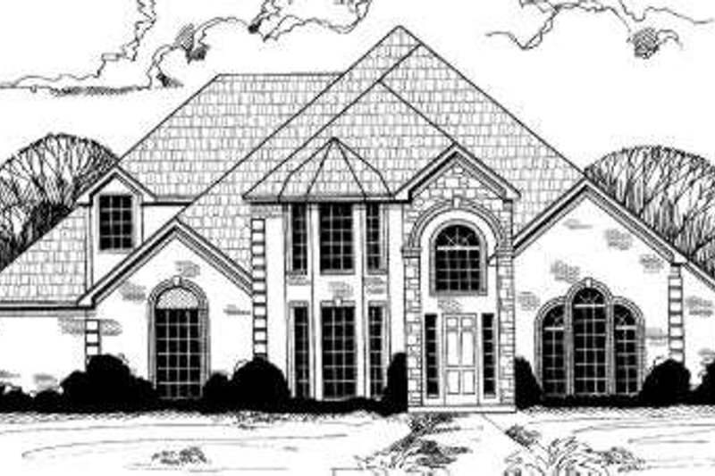 European Style House Plan - 5 Beds 3.5 Baths 3848 Sq/Ft Plan #317-130 Exterior - Front Elevation