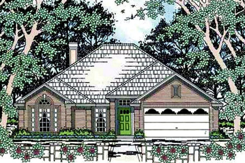 Traditional Style House Plan - 4 Beds 2 Baths 1554 Sq/Ft Plan #42-391 Exterior - Front Elevation