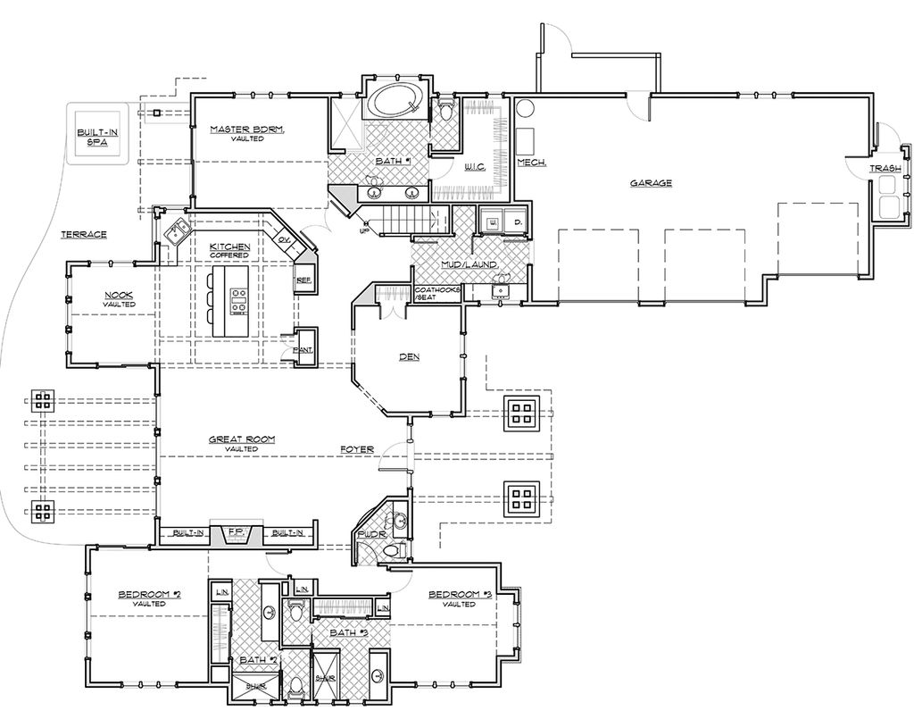 Craftsman Style House Plan, Main Level Floor Plan