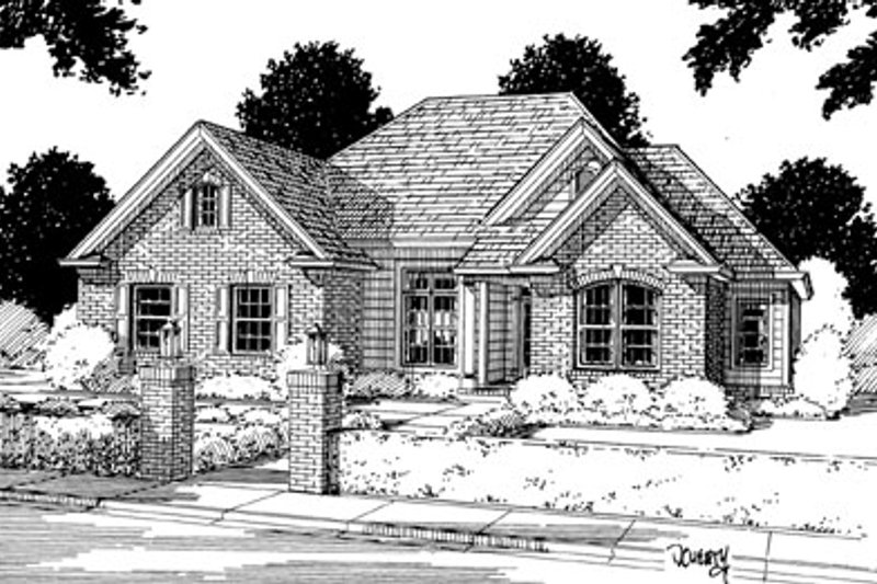 Architectural House Design - Traditional Exterior - Front Elevation Plan #20-116