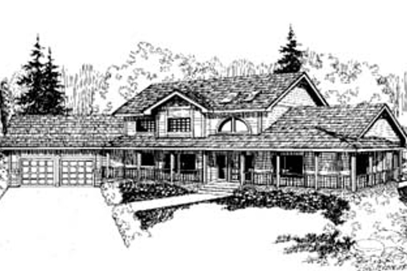 Traditional Style House Plan - 4 Beds 2.5 Baths 2987 Sq/Ft Plan #60-157 Exterior - Front Elevation