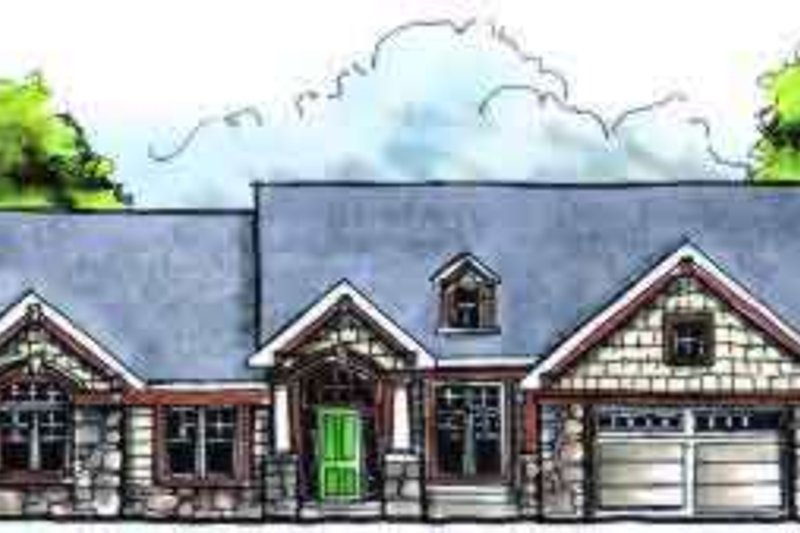 Traditional Style House Plan - 3 Beds 2 Baths 1810 Sq/Ft Plan #70-613 Exterior - Front Elevation