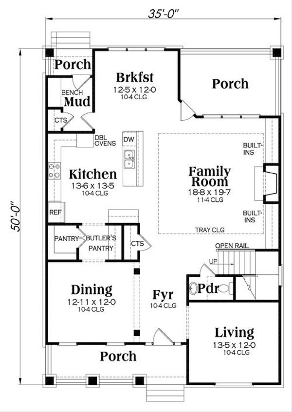 Craftsman Floor Plan - Main Floor Plan Plan #419-260