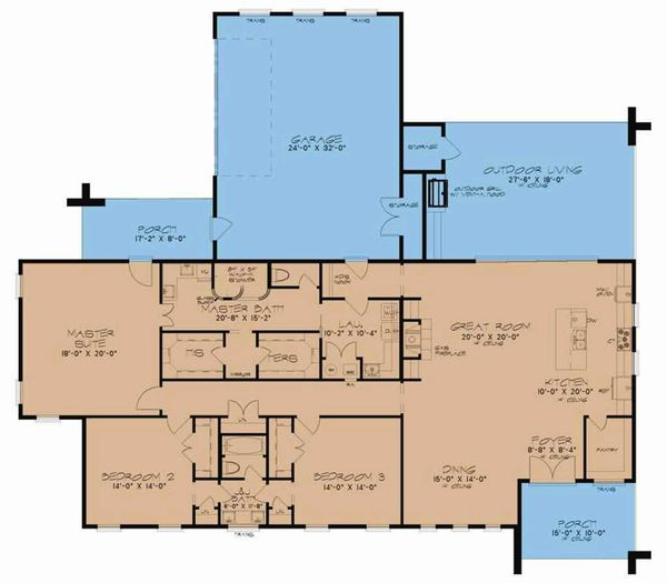 Contemporary Floor Plan - Main Floor Plan Plan #923-54