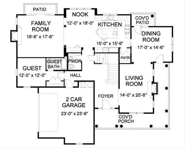 Farmhouse Floor Plan - Main Floor Plan Plan #490-8