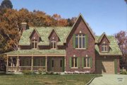 European Style House Plan - 3 Beds 2.5 Baths 2216 Sq/Ft Plan #138-141 Exterior - Front Elevation