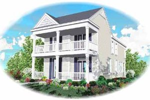Southern Exterior - Front Elevation Plan #81-118