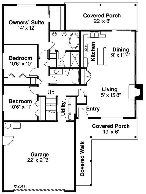 Ranch Floor Plan - Main Floor Plan Plan #124-879